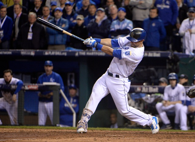 Oct 27, 2015; Kansas City, MO, USA; Kansas City Royals left fielder Alex Gordon (4) hits a solo home run against the New York Mets in the 9th inning in game one of the 2015 World Series at Kauffman Stadium. Mandatory Credit: John Rieger-USA TODAY Sports